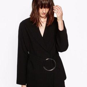 Zara Woman Studio Belted Pinstripe Wool Blazer